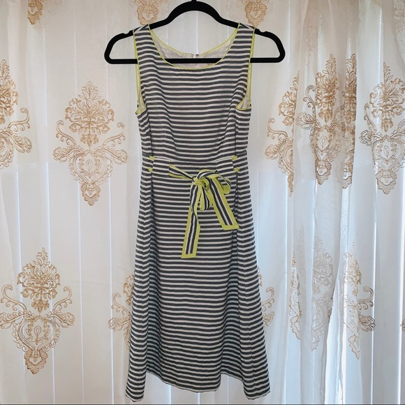 LOFT Dresses & Skirts - Loft Grey Striped Seersucker Dress with Bow 🎀